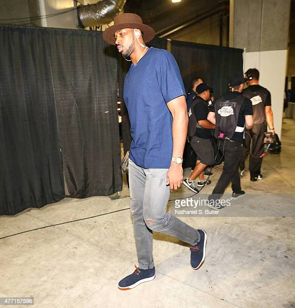 Tristan Thompson of the Cleveland Cavaliers arrives prior to Game Five of the 2015 NBA Finals on June 14 2015 at Oracle Arena in Oakland California...