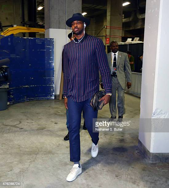 Tristan Thompson of the Cleveland Cavaliers arrives prior to Game Two of the 2015 NBA Finals on June 7 2015 at Oracle Arena in Oakland California...