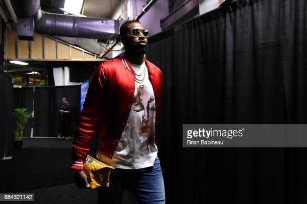 Tristan Thompson of the Cleveland Cavaliers arrives to the arena before the game against the Boston Celtics during Game One of the Eastern Conference...