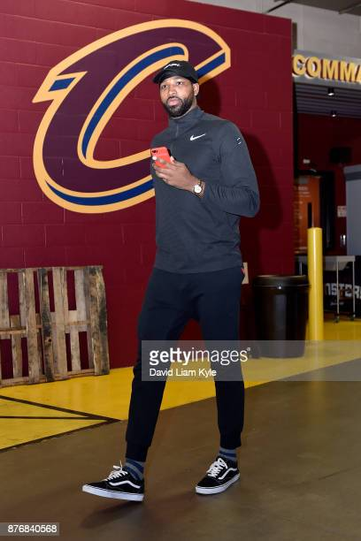 Tristan Thompson of the Cleveland Cavaliers arrives to the arena before the game against the Milwaukee Bucks on November 7 2017 at Quicken Loans...