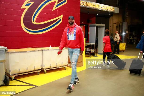 Tristan Thompson of the Cleveland Cavaliers arrives to the arena prior to the game against the Philadelphia 76ers on March 1 2018 at Quicken Loans...
