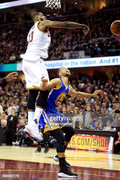 Tristan Thompson of the Cleveland Cavaliers blocks Stephen Curry of the Golden State Warriors in the second quarter in Game 3 of the 2017 NBA Finals...