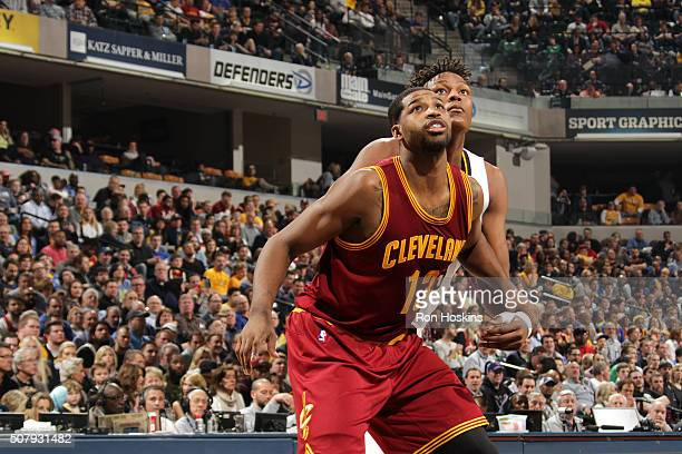 Tristan Thompson of the Cleveland Cavaliers boxes out against Myles Turner of the Indiana Pacers during the game on February 1 2016 at Bankers Life...