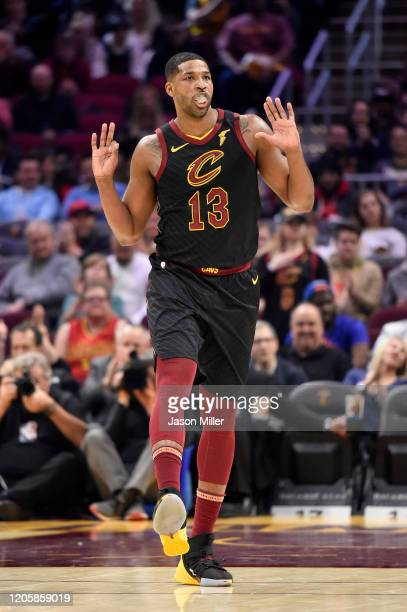 Tristan Thompson of the Cleveland Cavaliers celebrates after scoring during the first half against the Atlanta Hawks at Rocket Mortgage Fieldhouse on...