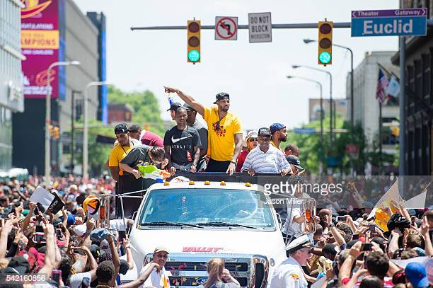Tristan Thompson of the Cleveland Cavaliers celebrates with fans during the Cleveland Cavaliers 2016 championship victory parade and rally on June 22...
