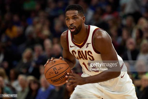 Tristan Thompson of the Cleveland Cavaliers dribbles the ball against the Minnesota Timberwolves during the game on October 19 2018 at the Target...