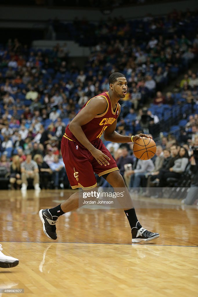 Tristan Thompson #13 of the Cleveland Cavaliers dribbles the ball against the ball against the Minnesota Timberwolves on November 13, 2013 at Target Center in Minneapolis, Minnesota.