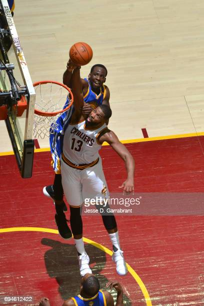 Tristan Thompson of the Cleveland Cavaliers drives to the basket against Draymond Green of the Golden State Warriors in Game Four of the 2017 NBA...