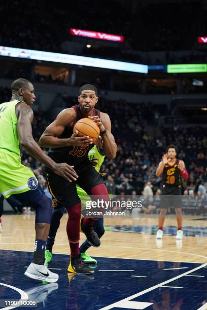 Tristan Thompson of the Cleveland Cavaliers drives to the basket against the Minnesota Timberwolves on December 28 2019 at Target Center in...
