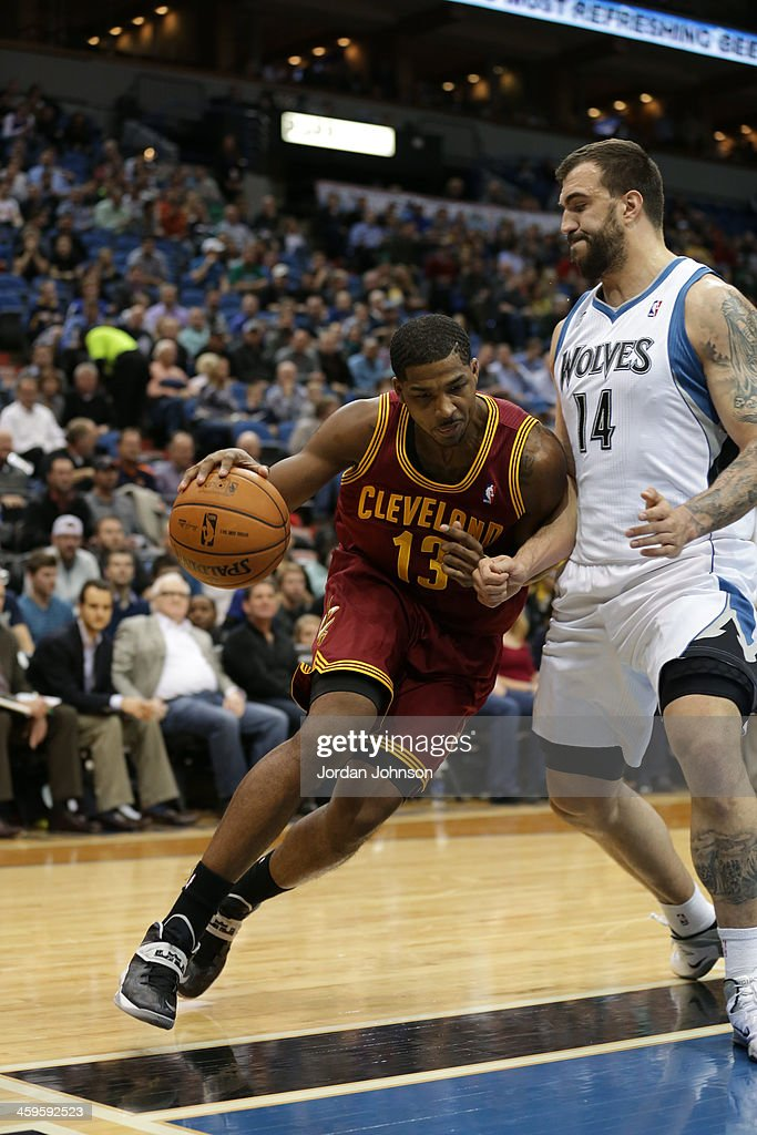 Tristan Thompson #13 of the Cleveland Cavaliers drives to the basket against the Minnesota Timberwolves on November 13, 2013 at Target Center in Minneapolis, Minnesota.