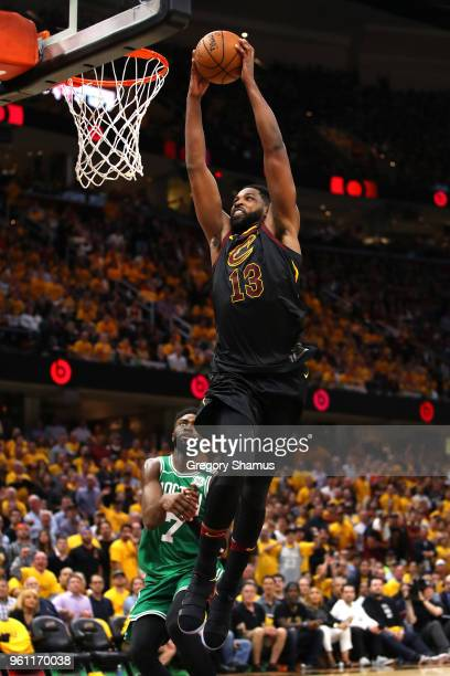 Tristan Thompson of the Cleveland Cavaliers dunks in the second quarter against the Boston Celtics during Game Four of the 2018 NBA Eastern...