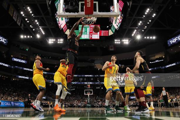 Tristan Thompson of the Cleveland Cavaliers dunks the ball in the fourth quarter against the Milwaukee Bucks at the Fiserv Forum on March 24 2019 in...