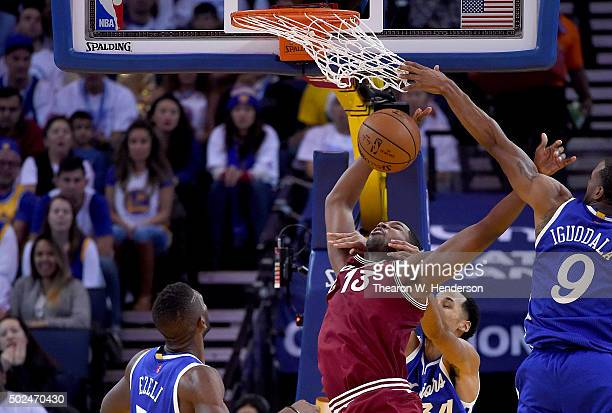 Tristan Thompson of the Cleveland Cavaliers gets fouled by Shaun Livingston of the Golden State Warriorsduring their NBA basketball game at ORACLE...