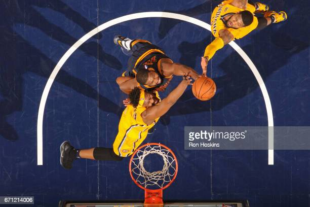 Tristan Thompson of the Cleveland Cavaliers goes for a rebound against Myles Turner of the Indiana Pacers during Game Three of the Eastern Conference...