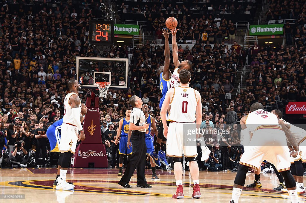 87b20c8d779 Tristan Thompson of the Cleveland Cavaliers goes for the tip off ...