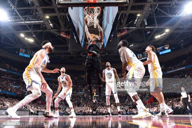Tristan Thompson of the Cleveland Cavaliers goes to the basket against the Golden State Warriors during Game Three of the 2018 NBA Finals on June 6...