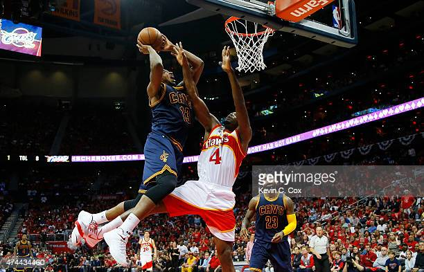 Tristan Thompson of the Cleveland Cavaliers goes up against Iman Shumpert of the Cleveland Cavaliers in the second quarter during Game Two of the...
