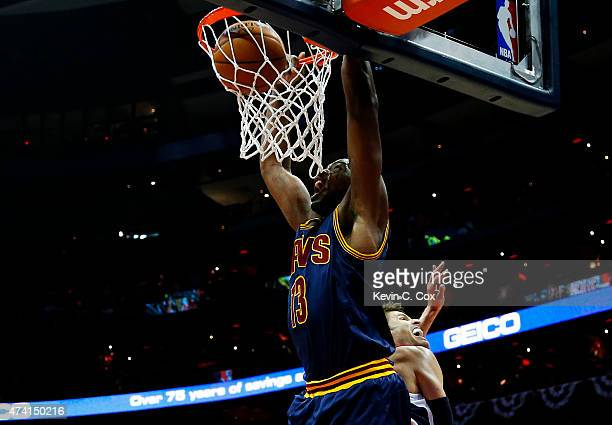 Tristan Thompson of the Cleveland Cavaliers goes up against Kyle Korver of the Atlanta Hawks in the first quarter during Game One of the Eastern...