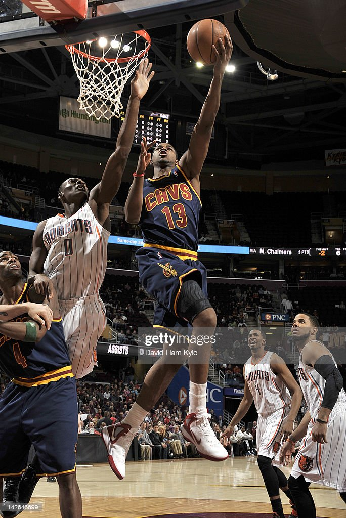 Tristan Thompson #13 of the Cleveland Cavaliers goes up for the lay in against Bismack Biyombo #0 of the Charlotte Bobcats at The Quicken Loans Arena on April 10, 2012 in Cleveland, Ohio.