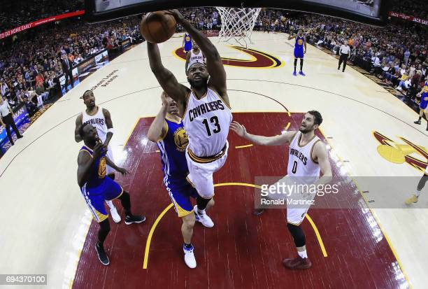 Tristan Thompson of the Cleveland Cavaliers grabs a rebound in the second half against the Golden State Warriors in Game 4 of the 2017 NBA Finals at...