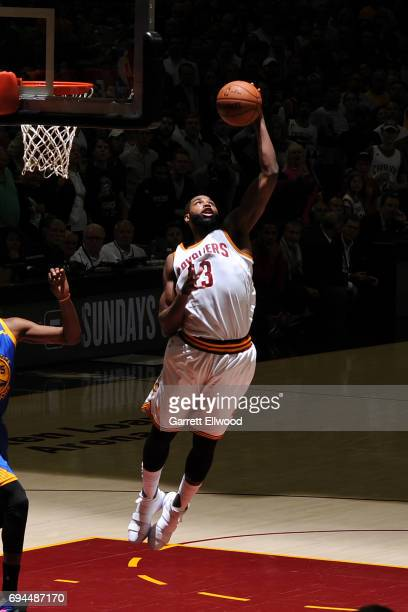 Tristan Thompson of the Cleveland Cavaliers grabs the rebound against the Golden State Warriors in Game Four of the 2017 NBA Finals on June 9 2017 at...