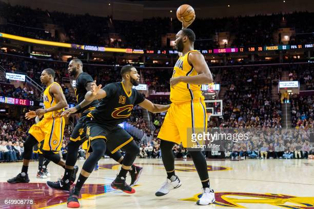 Tristan Thompson of the Cleveland Cavaliers guards Al Jefferson of the Indiana Pacers during the first half at Quicken Loans Arena on February 15...
