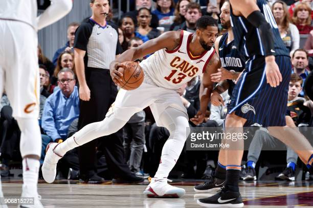 Tristan Thompson of the Cleveland Cavaliers handles the ball during the game against the Orlando Magic on January 18 2018 at Quicken Loans Arena in...