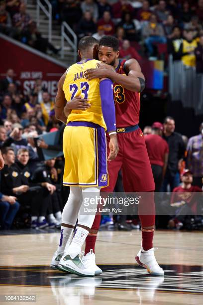Tristan Thompson of the Cleveland Cavaliers hugs Tristan Thompson of the Cleveland Cavaliers on November 21 2018 at Quicken Loans Arena in Cleveland...