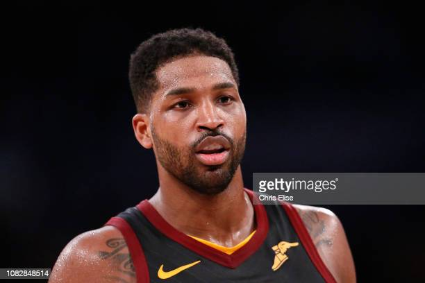 Tristan Thompson of the Cleveland Cavaliers looks on against the Los Angeles Lakers on January 13 2019 at STAPLES Center in Los Angeles California...