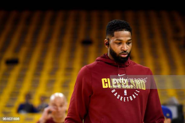 Tristan Thompson of the Cleveland Cavaliers looks on before the game against the Golden State Warriors in Game One of the 2018 NBA Finals on May 31...