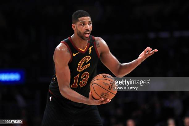 Tristan Thompson of the Cleveland Cavaliers looks on during the second half of a game against the Los Angeles Lakers at Staples Center on January 13,...