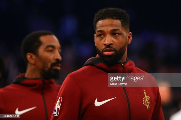 Tristan Thompson of the Cleveland Cavaliers looks on during warm ups before the game against the New York Knicks at Madison Square Garden on April 9...