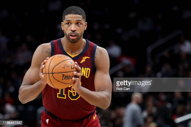 Tristan Thompson of the Cleveland Cavaliers looks to pass against the Washington Wizards at Capital One Arena on November 08, 2019 in Washington, DC....