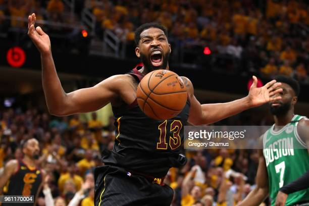 Tristan Thompson of the Cleveland Cavaliers reacts after a dunk in the second quarter against the Boston Celtics during Game Four of the 2018 NBA...