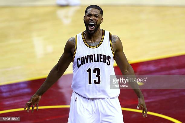 Tristan Thompson of the Cleveland Cavaliers reacts during the first half against the Golden State Warriors in Game 6 of the 2016 NBA Finals at...
