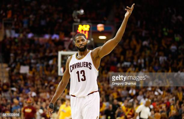 Tristan Thompson of the Cleveland Cavaliers reacts in the third quarter against the Boston Celtics during Game Four of the 2017 NBA Eastern...