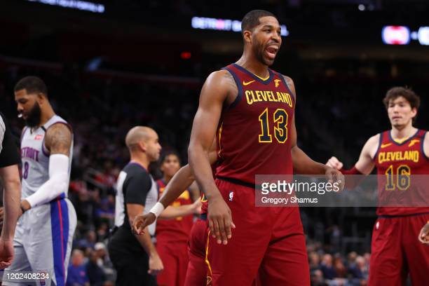 Tristan Thompson of the Cleveland Cavaliers reacts to a second half basket against the Detroit Pistons at Little Caesars Arena on January 27, 2020 in...