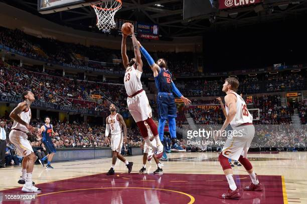 Tristan Thompson of the Cleveland Cavaliers rebounds the ball against the Oklahoma City Thunder on November 7 2018 at Quicken Loans Arena in...