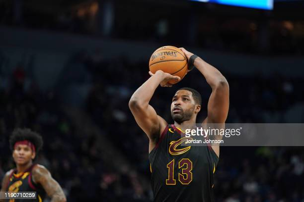 Tristan Thompson of the Cleveland Cavaliers shoots a free throw during the game against the Minnesota Timberwolves on December 28 2019 at Target...