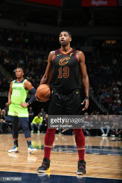 Tristan Thompson of the Cleveland Cavaliers shoots a free throw against the Minnesota Timberwolves on December 28 2019 at Target Center in...