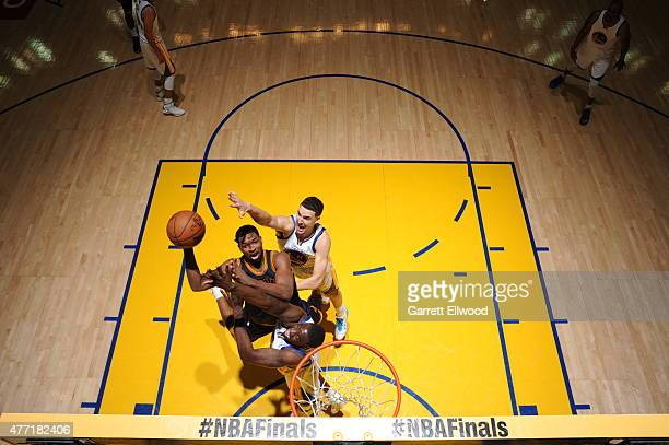 Tristan Thompson of the Cleveland Cavaliers shoots against the Golden State Warriors in Game Five of the 2015 NBA Finals on June 14 2015 at ORACLE...
