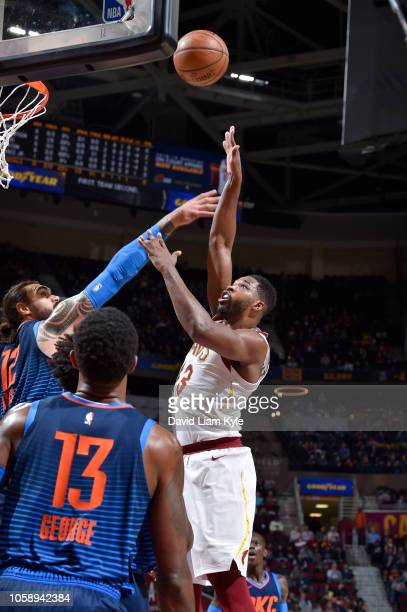 Tristan Thompson of the Cleveland Cavaliers shoots the ball against the Oklahoma City Thunder on November 7 2018 at Quicken Loans Arena in Cleveland...