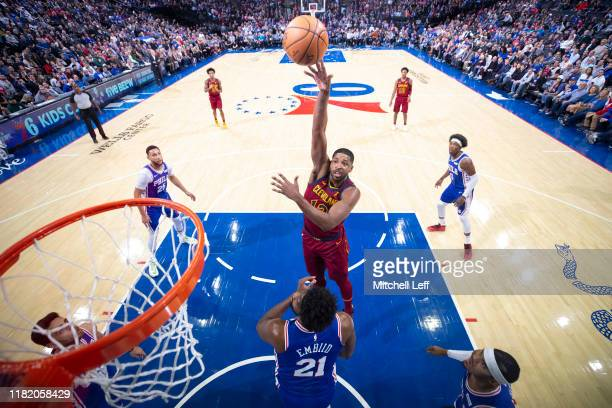 Tristan Thompson of the Cleveland Cavaliers shoots the ball against Joel Embiid of the Philadelphia 76ers in the first quarter at the Wells Fargo...