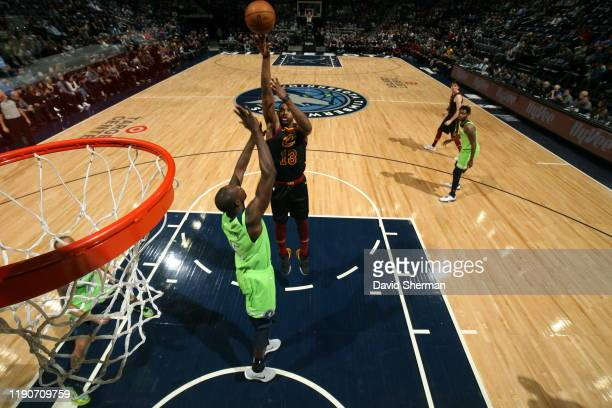 Tristan Thompson of the Cleveland Cavaliers shoots the ball against the Minnesota Timberwolves on December 28 2019 at Target Center in Minneapolis...
