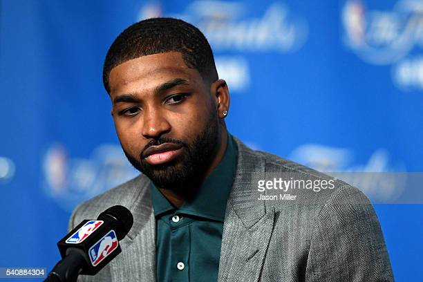 Tristan Thompson of the Cleveland Cavaliers speaks to the media after defeating the Golden State Warriors in Game 6 of the 2016 NBA Finals at Quicken...