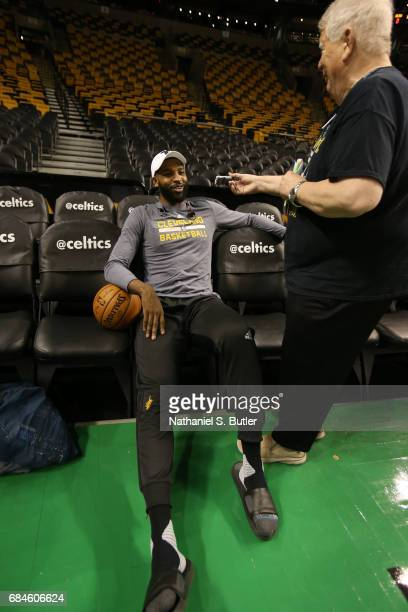 Tristan Thompson of the Cleveland Cavaliers speaks to the media during practice day of the Eastern Conference Finals of the 2017 NBA Playoffs on May...