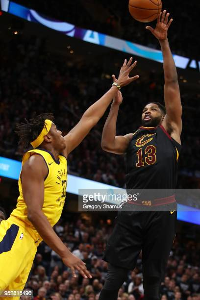 Tristan Thompson of the Cleveland Cavaliers takes a shot over Myles Turner of the Indiana Pacers during the second half in Game Seven of the Eastern...