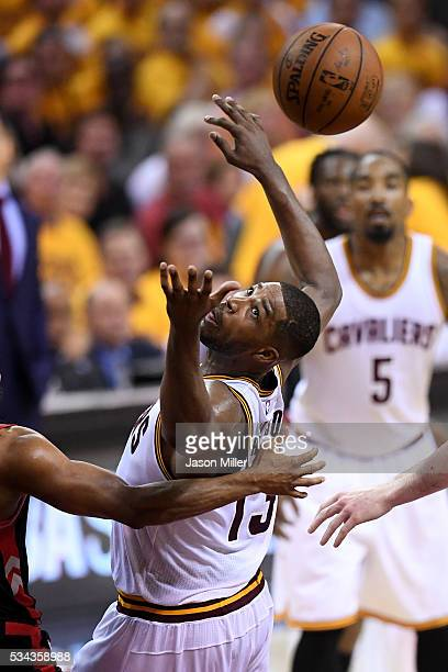 Tristan Thompson of the Cleveland Cavaliers tries for a rebound in the third quarter against the Toronto Raptors in game five of the Eastern...