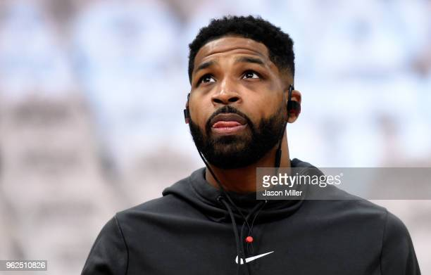 Tristan Thompson of the Cleveland Cavaliers warms up before Game Six of the 2018 NBA Eastern Conference Finals against the Boston Celtics at Quicken...