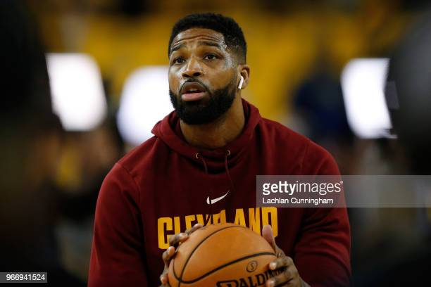 Tristan Thompson of the Cleveland Cavaliers warms up prior to Game 2 of the 2018 NBA Finals against the Golden State Warriors at ORACLE Arena on June...